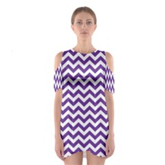 Royal Purple & White Zigzag Pattern Cutout Shoulder Dress
