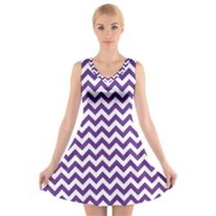 Royal Purple & White Zigzag Pattern V-Neck Sleeveless Skater Dress