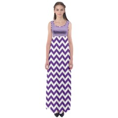 Royal Purple & White Zigzag Pattern Empire Waist Maxi Dress