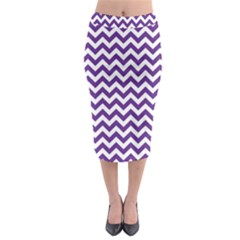 Royal Purple & White Zigzag Pattern Midi Pencil Skirt