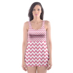 Soft Pink & White Zigzag Pattern Skater Dress Swimsuit