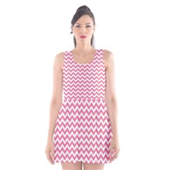 Soft Pink & White Zigzag Pattern Scoop Neck Skater Dress