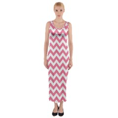 Soft Pink & White Zigzag Pattern Fitted Maxi Dress