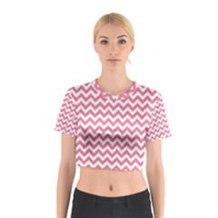 Soft Pink & White Zigzag Pattern Cotton Crop Top