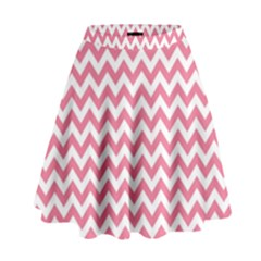 Soft Pink & White Zigzag Pattern High Waist Skirt