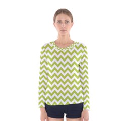 Spring Green & White Zigzag Pattern Women s Long Sleeve Tee