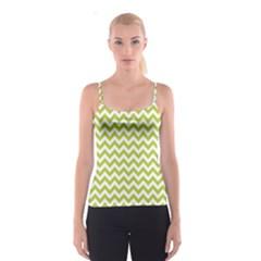 Spring Green & White Zigzag Pattern Spaghetti Strap Top