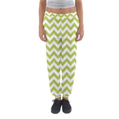 Spring Green & White Zigzag Pattern Women s Jogger Sweatpants