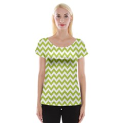 Spring Green & White Zigzag Pattern Women s Cap Sleeve Top