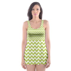 Spring Green & White Zigzag Pattern Skater Dress Swimsuit