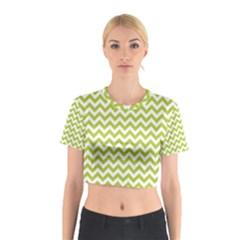 Spring Green & White Zigzag Pattern Cotton Crop Top