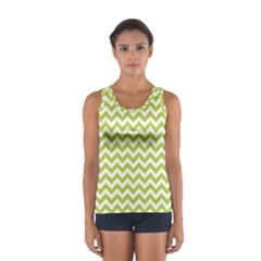 Spring Green & White Zigzag Pattern Tops