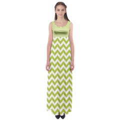 Spring Green & White Zigzag Pattern Empire Waist Maxi Dress