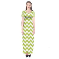 Spring Green & White Zigzag Pattern Short Sleeve Maxi Dress