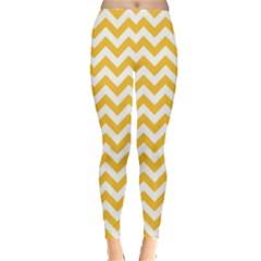 Sunny Yellow & White Zigzag Pattern Leggings