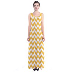 Sunny Yellow & White Zigzag Pattern Sleeveless Maxi Dress