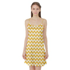 Sunny Yellow & White Zigzag Pattern Satin Night Slip