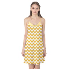 Sunny Yellow & White Zigzag Pattern Camis Nightgown
