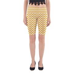 Sunny Yellow & White Zigzag Pattern Yoga Cropped Leggings