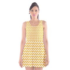 Sunny Yellow & White Zigzag Pattern Scoop Neck Skater Dress