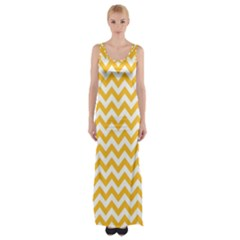 Sunny Yellow & White Zigzag Pattern Maxi Thigh Split Dress