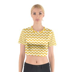 Sunny Yellow & White Zigzag Pattern Cotton Crop Top