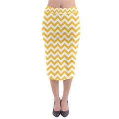 Sunny Yellow & White Zigzag Pattern Midi Pencil Skirt