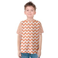 Tangerine Orange & White Zigzag Pattern Kid s Cotton Tee