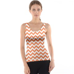 Tangerine Orange & White Zigzag Pattern Tank Top
