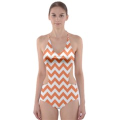 Tangerine Orange & White Zigzag Pattern Cut-Out One Piece Swimsuit