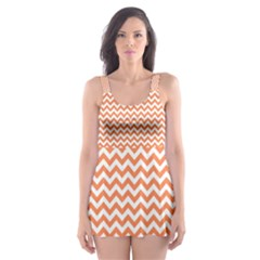Tangerine Orange & White Zigzag Pattern Skater Dress Swimsuit