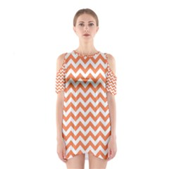 Tangerine Orange & White Zigzag Pattern Cutout Shoulder Dress