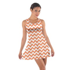 Tangerine Orange & White Zigzag Pattern Racerback Dresses