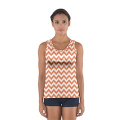 Tangerine Orange & White Zigzag Pattern Tops