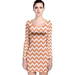 Tangerine Orange & White Zigzag Pattern Long Sleeve Velvet Bodycon Dress