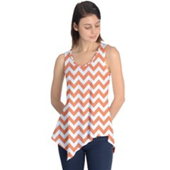 Tangerine Orange & White Zigzag Pattern Sleeveless Tunic
