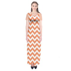 Tangerine Orange & White Zigzag Pattern Short Sleeve Maxi Dress