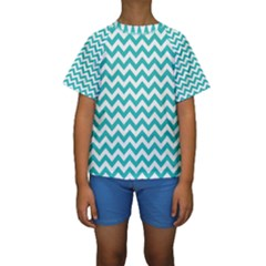 Turquoise & White Zigzag Pattern Kid s Short Sleeve Swimwear