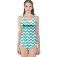 Turquoise & White Zigzag Pattern One Piece Swimsuit