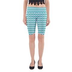 Turquoise & White Zigzag Pattern Yoga Cropped Leggings