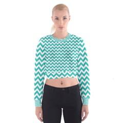 Turquoise & White Zigzag Pattern Women s Cropped Sweatshirt