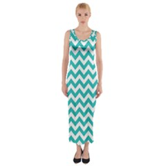 Turquoise & White Zigzag Pattern Fitted Maxi Dress