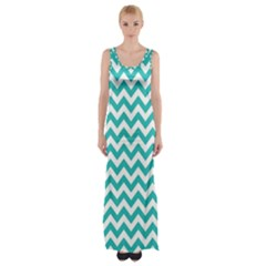 Turquoise & White Zigzag Pattern Maxi Thigh Split Dress