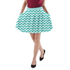 Turquoise & White Zigzag Pattern A-Line Pocket Skirt