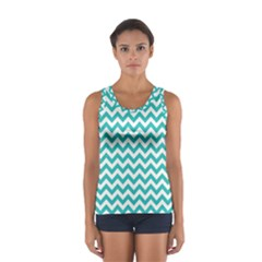 Turquoise & White Zigzag Pattern Tops