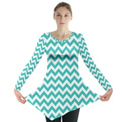 Turquoise & White Zigzag Pattern Long Sleeve Tunic
