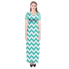 Turquoise & White Zigzag Pattern Short Sleeve Maxi Dress