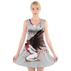 Dominance V Neck Sleeveless Skater Dress