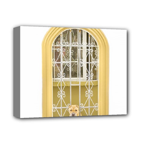 Dog Watching Through Windows House Deluxe Canvas 14  x 11
