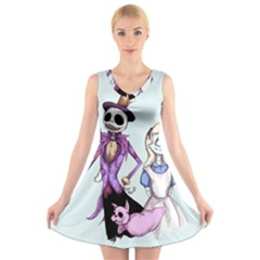 Nightmare In Wonderland  V Neck Sleeveless Skater Dress